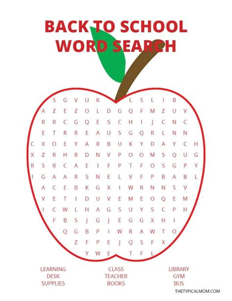 Search By School Back To School Word Search 183 The Typical
