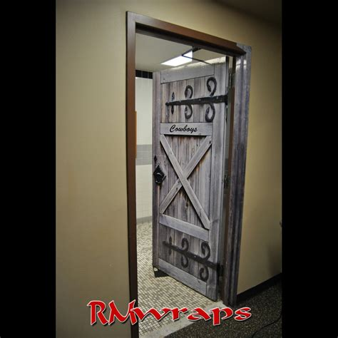 Door Wraps cowboy restroom door wrap rm wraps