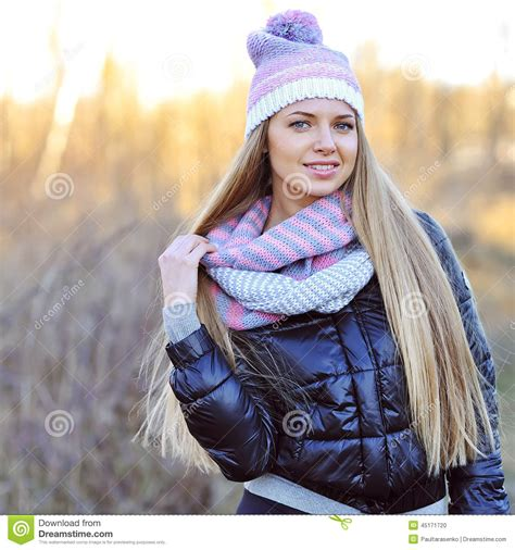 beautiful outdoors portrait of beautiful smiling in jacket