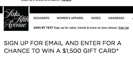 Win A 3000 Saks Shopping Spree by Saks Fifth Avenue 1 500 Shopping Spree Sweepstakes Sun