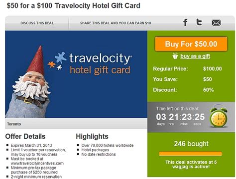 Where Can I Buy Hotel Gift Cards - 50 for a 100 travelocity incentives hotel gift card deal or no deal loyaltylobby