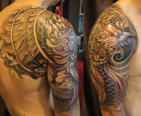 japanese phoenix tattoo half sleeve half sleeve to shoulder blade phoenix tattoo chronic ink