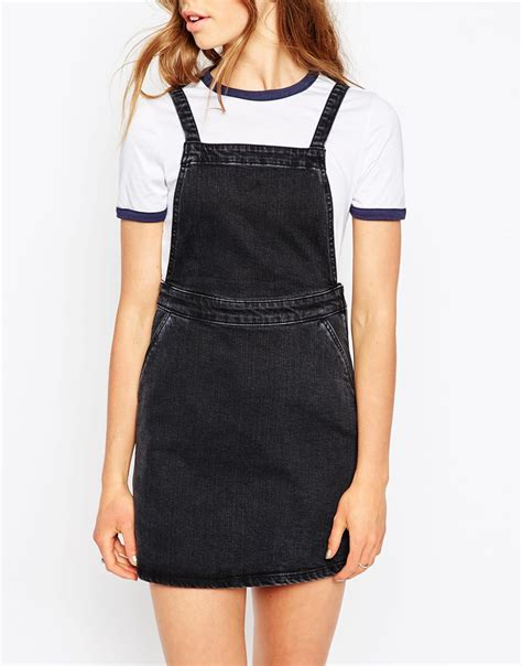 A Line Pinafore Dress asos denim a line pinafore dress in washed black in black