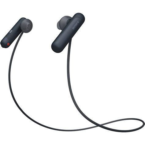 sony wi sp wireless  ear sports headphones black