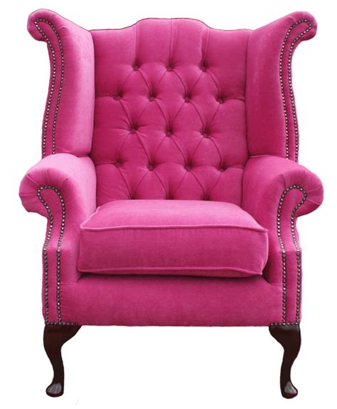 hot pink armchair chesterfield queen anne high back wing fireside chair pink