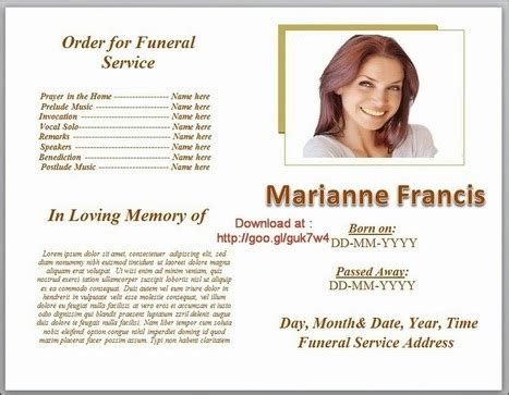 Blue Themed Funeral Program Template In Microso Funeral Program Template Microsoft Word