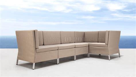 modular outdoor sofa beige water resistant fabric modern 5pc modular outdoor sofa