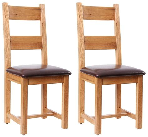 Dining Chairs Vancouver Buy Vancouver Oak Dining Chair Chocolate Leather Seat Pair Cfs Uk