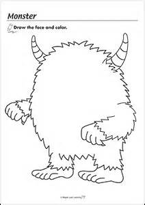 monster halloween coloring sheet maple leaf learning library