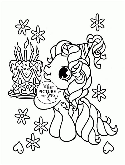 small birthday cake coloring page little pony and birthday cake coloring page for kids