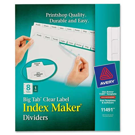 template for avery index maker clear label dividers printer