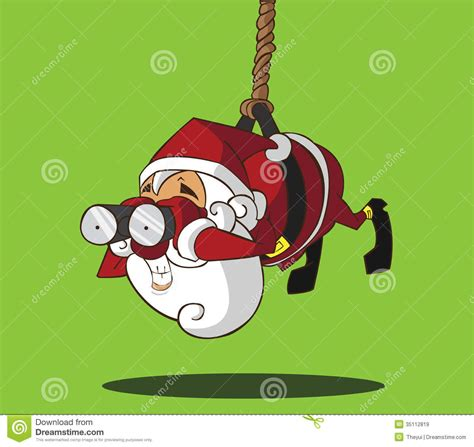 santa claus hanging on a rope stock vector image 35112819