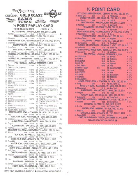 football parlay card template free half point parlay cards sports betting page