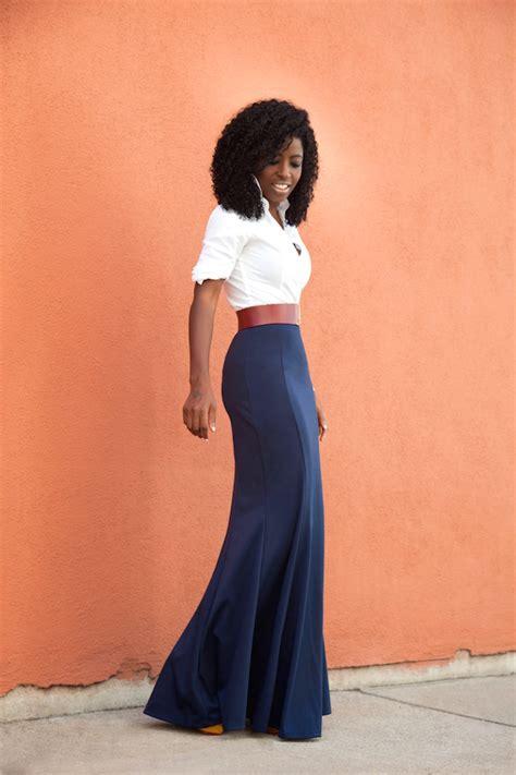 style pantry white button shirt high waist maxi skirt