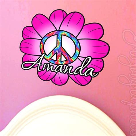 peace sign flowers custom name vinyl wall decor mural 189 best wall stickers images on pinterest wall clings