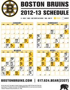 Bruins Schedule Boston Bruins 2012 2013 Schedule Boston Pro Sports