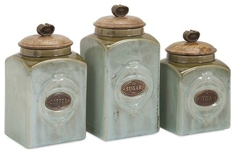 Designer Kitchen Storage Jars Coffee Sugar Tea Retro Blue Ceramic Canisters Set Of 3 Traditional Kitchen Canisters And