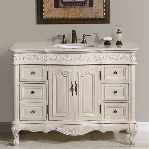 Vanity Furniture For Bathroom 48 Perfecta Pa 113 Bathroom Vanity Single Sink Cabinet White Oak Finish Marble Bathroom