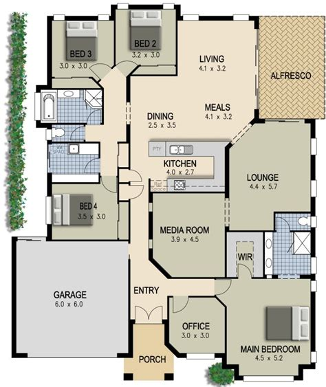 house with 4 bedrooms australian house plan 4 bedroom study lounge media room