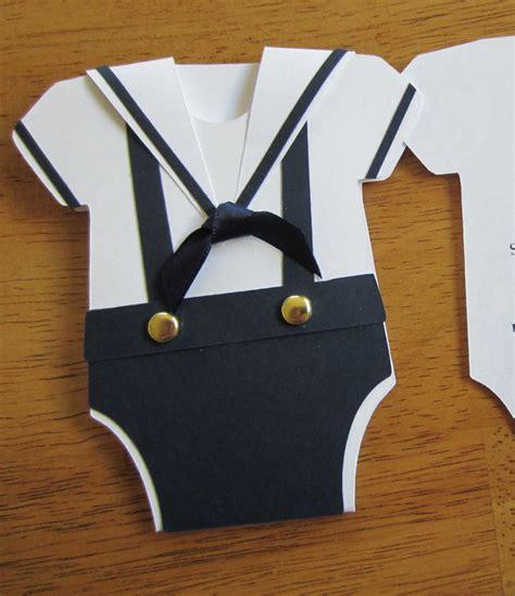handmade baby shower invitation onesie shape w sailor collar