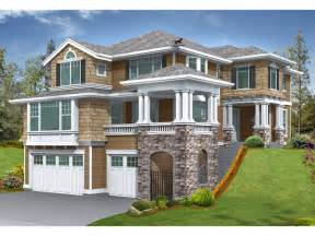 lot plan modern house plans for sloped lots also two story craftsman