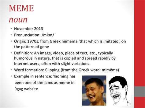 Social Media Meme Definition - morphology word formation