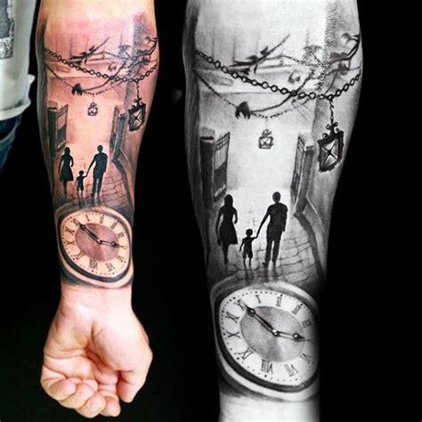 3d tattoo zahnräder 3d realistische farbige gro 223 e uhr mit der familie auf der