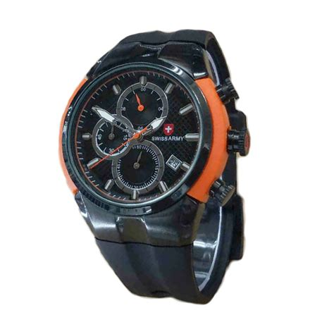 Jam Tangan Swiss Army Sa4127 Black jual swiss army chrono rubber jam tangan pria black
