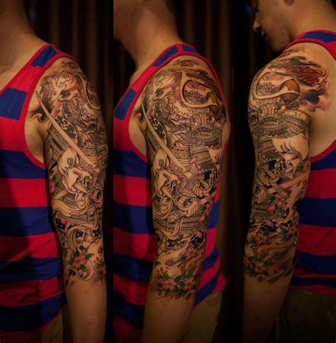 samurai sleeve tattoo 3 4 sleeve samurai chronic ink