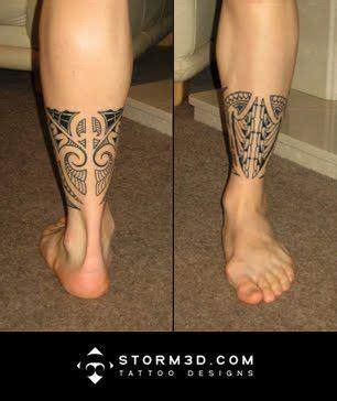 mauri tribal tattoo lower leg band tribal design in mauri style