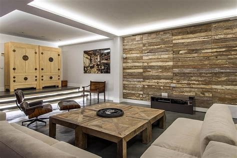 warmth  texture  unique living room wood accent walls