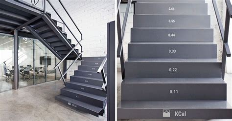 office stairs design these stairs show how many calories you burn while