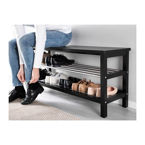 shoe storage bench ikea tjusig bench with shoe storage black 108x50 cm ikea