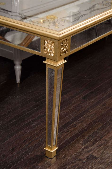 Mirror Center Table by Custom Antique Eglomise Mirror And Goldleaf Detail Center