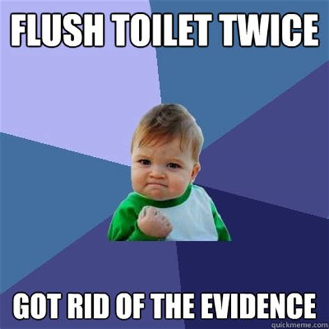Toilet Meme - flush toilet twice got rid of the evidence success kid