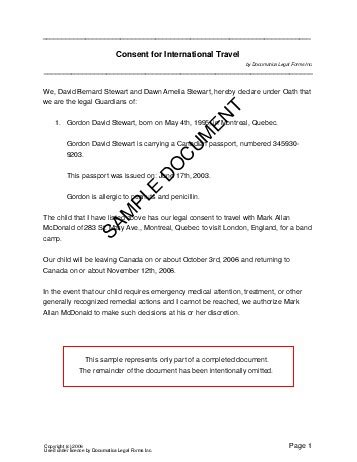 travel consent letter for minor philippines child travel consent canada templates