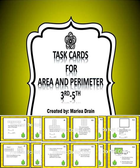 task card template powerpoint area and perimeter task cards and powerpoint show cards
