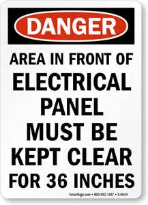 area in front of electrical panel must be clear sign sku