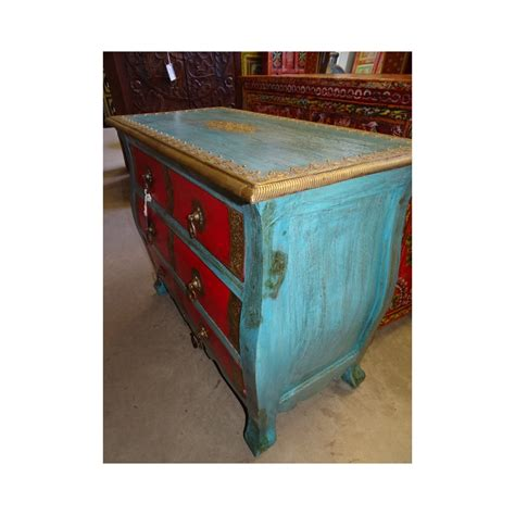 commode indienne commode indienne et turquoise 6 tiroirs orn 233 e de laiton