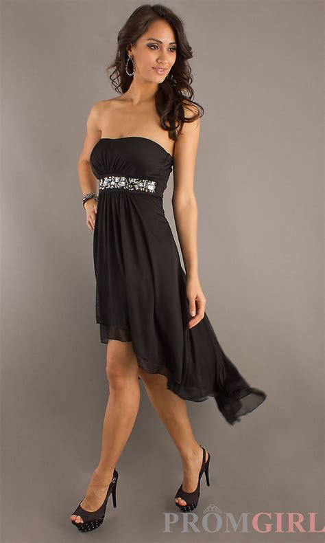 dresses strapless high low dress black cocktail