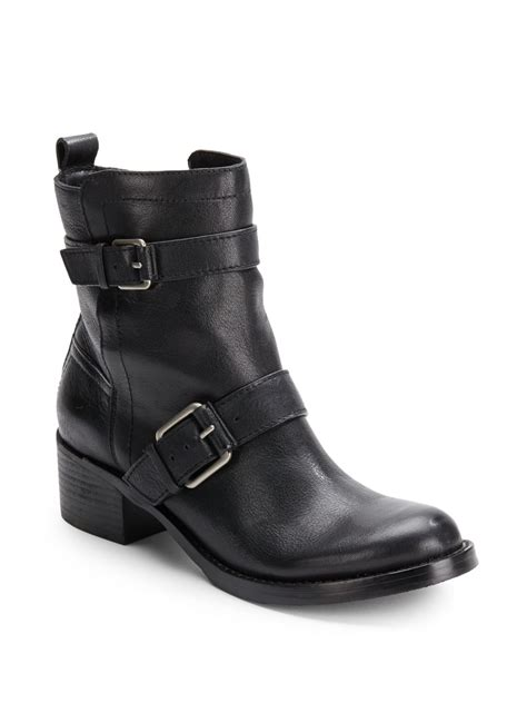 lucky brand hanae leather moto boots  black lyst
