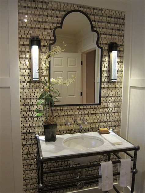 Small Half Bathroom Decorating Ideas Wrought Iron Vanity Bathroom Traditional With Brick Floor