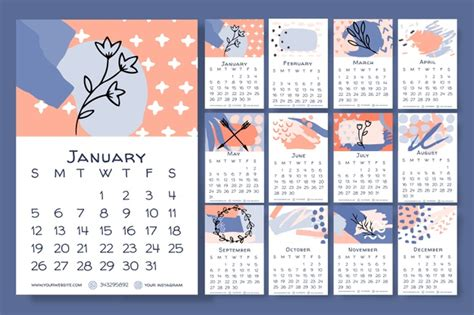 hand drawn floral calendar  template  vector