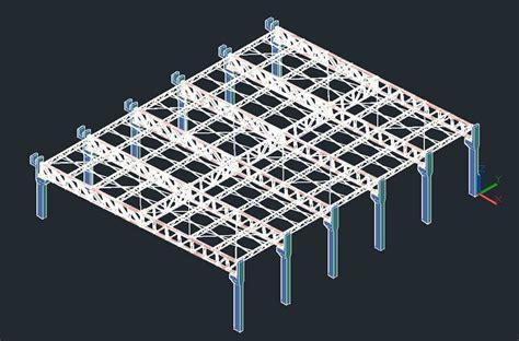 metal roof truss  sports court  dwg model  autocad