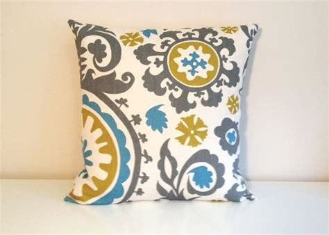 Yellow And Blue Decorative Pillows by Throw Pillow Cover 16 X 16 Inch Gray Blue Yellow Suzani