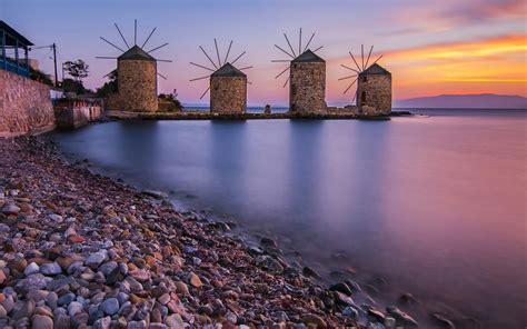 windmills  chios aegean sea greece  ultra hd desktop