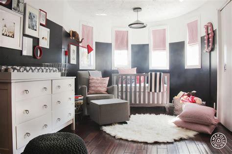 Pink And Black Nursery Decor Nursery With Curved Walls Contemporary Nursery