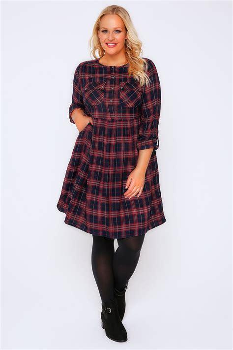 Check Shirt Dress black check shirt dress with tie waist plus size 16