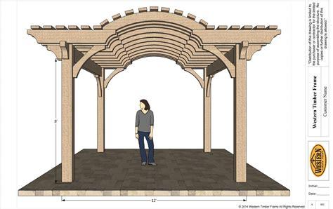 Ip25384 Tember Blouse 2 up coming 16 x 16 timber frame barrel top pergola kit
