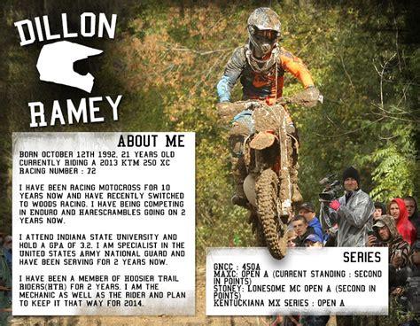 Motocross Sponsorship Resume by Dillon Ramey S 2014 Sponsorship Resume